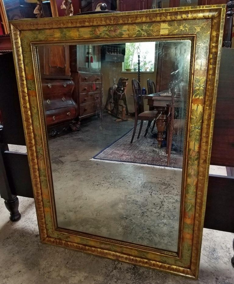 Art Deco Era Nena Claiborne Hand Painted Mirror For Sale 7