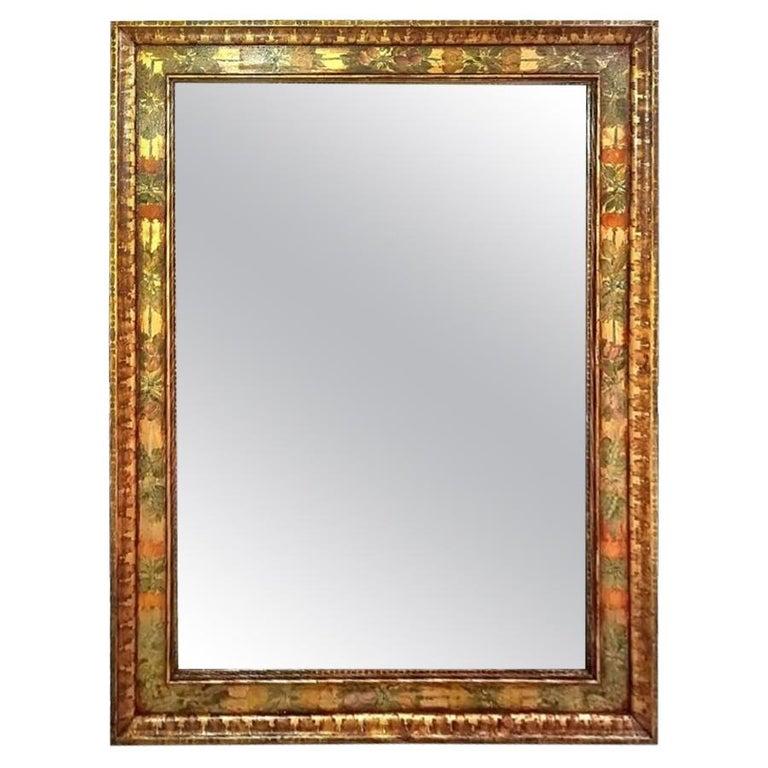 Presenting a uniqueArt Deco Era hand painted mirror by Dallas Interior Design Legend……..Nena Claiborne……, circa 1930.  This Mirror is in superb original condition.  It was custom designed and hand-gilded and hand painted by Nena Claiborne for