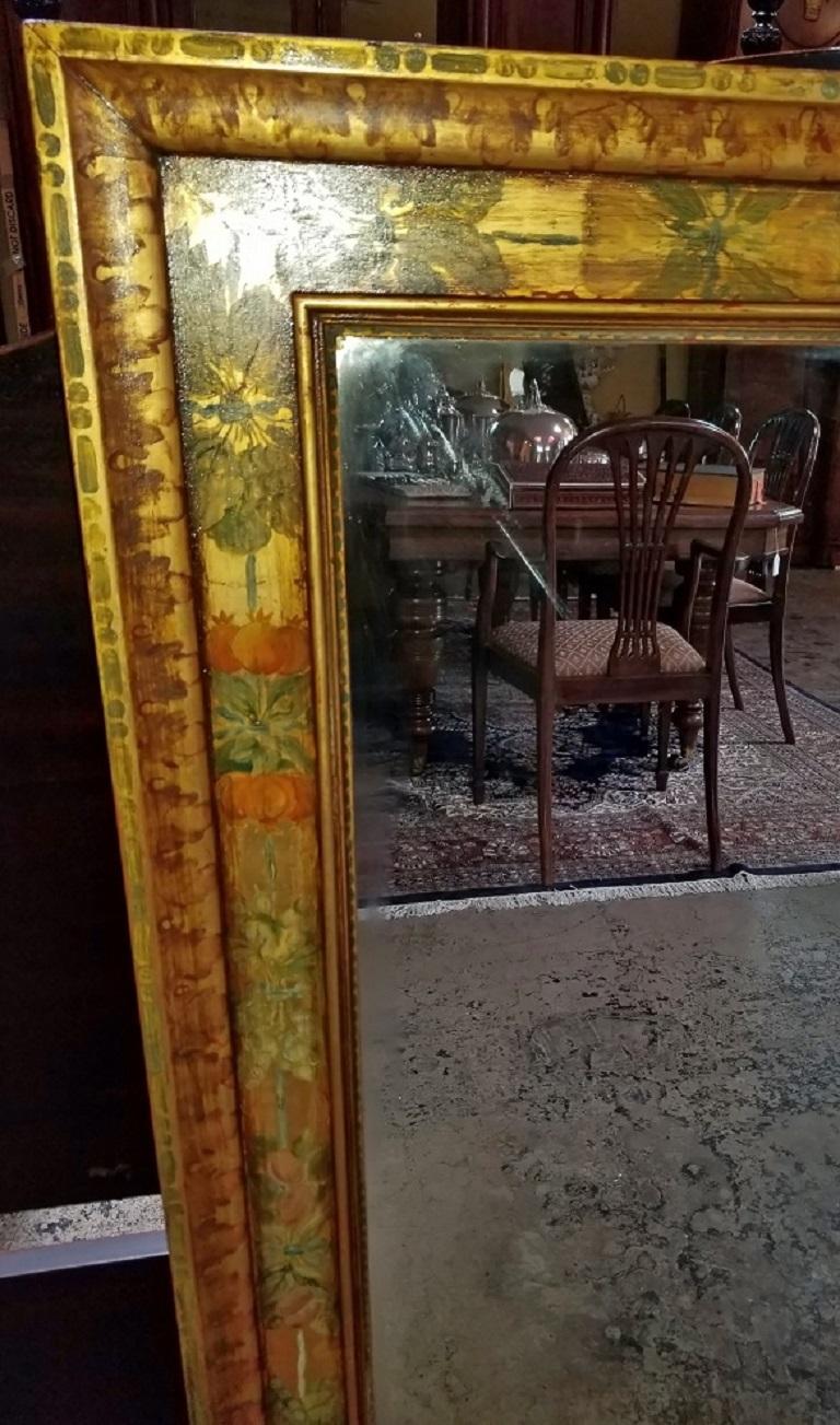 Art Deco Era Nena Claiborne Hand Painted Mirror For Sale 3