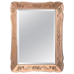 Art Deco Era Rectangular Etched Venetian Mirror