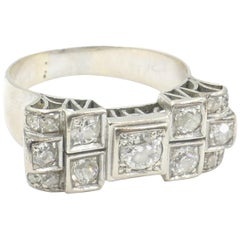 Art Deco French 18 Carat White Gold Diamond Cocktail Ring