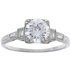 Art Deco GIA 1.19 Carat Old European Cut Diamond Platinum Engagement Ring