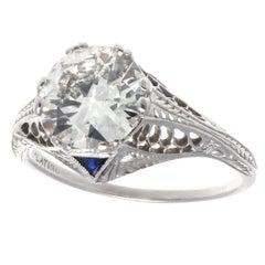 Art Deco GIA 1.86 Diamond Platinum Ring