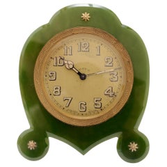 Art Deco Green Nephrite Jade Eight Day Desk Clock, circa 1920