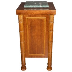 Art Deco Hand Rubbed Oak Pedestal with Exotic Green Rotating Marble Top