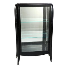 Art Deco Italian Glazed Cabinet with Glass Shelves