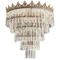 Art Deco Low Plafonnier Brass Crystal Chandelier Lustre Ceiling Lamp Antique