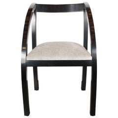 Art Deco Machine Age Side Chair by the Modernage Co. in Black Lacquer & Velvet