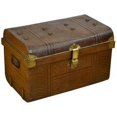 Art Deco Metal and Brass Travel Trunk, Storage Trunk, UK