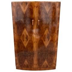Art Deco Original Walnut Bow Fronted Double Wardrobe, England, circa 1930