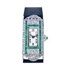 Art Deco Platinum, Diamond and Emerald Wristwatch, circa 1920