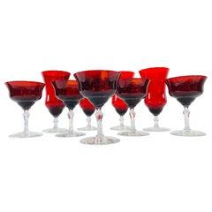 Art Deco Red Glass Stems, Set of 9
