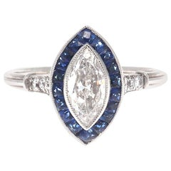 Art Deco Revival Marquise Cut Diamond Sapphire Platinum Ring