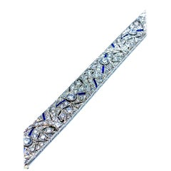 Art Deco Round Diamond and Sapphire Platinum Bracelet