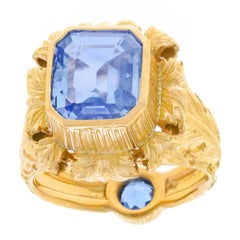Art Deco Sapphire Set Gold Ring GIA No Heat