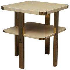Art Deco Square GoatSkin and Brass Italian Side Table, 1920
