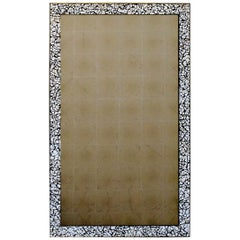 Art Deco Style L'oeuf Mirror, Hand-Cracked Eggshell and Lacquer Frame Rectangle