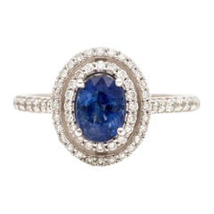 Art Deco Style Oval Blue Sapphire Halo Pave Diamonds White Gold Engagement Ring