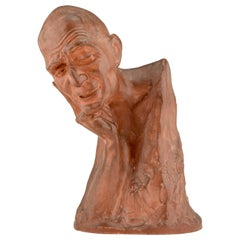 Art Deco Terracotta Sculpture Bust of a Man Gaston Hauchecorne, France, 1925