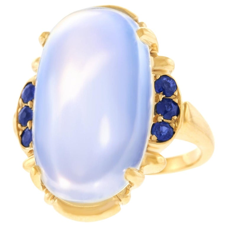 Art Deco Tiffany & Co. Moonstone and Sapphire-Set Gold Ring For Sale