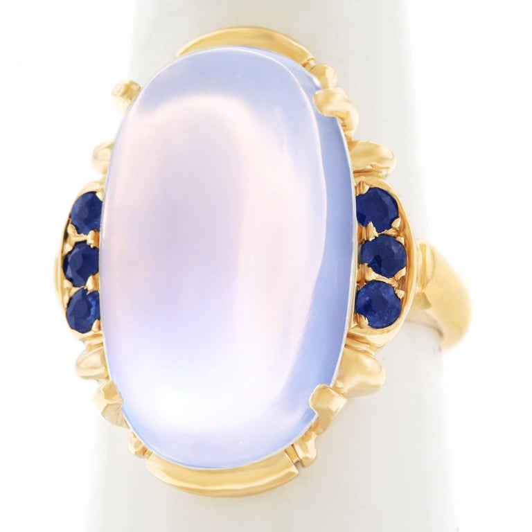 Art Deco Tiffany & Co. Moonstone and Sapphire-Set Gold Ring For Sale 4