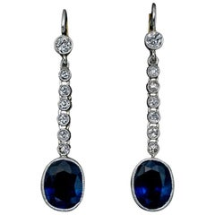 Art Deco Vintage Sapphire Diamond Platinum Dangle Earrings