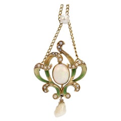 Art Nouveau 14 Karat Gold, Enamel, Opal and Pearl Lavalier Pendant Necklace