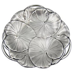 Art Nouveau Lily Pad Tray with Open Handles in Silver-Plate