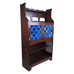 Art Nouveau Mahogany Buffet/ Cabinet with Blue Tiles, Austria, circa 1905