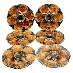 Art Nouveau Majolica Oyster Plates 'x6' by Sarreguemines