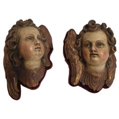Art Nouveau Pair of Winged Putt Heads Gilded Wood