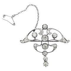 Art Nouveau Platinum White Diamond Pendant Brooch