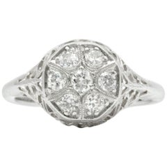 Art Nouveau Revival Old Mine Diamond Cluster 14 Karat White Gold Engagement Ring