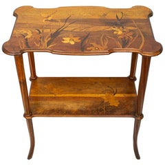 Art Nouveau Two Tiered Inlaid Top Table by Emile Galle, circa 1900