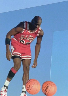 Michael Jordan with Basketballs, 1998, Framed Color Photograph by Art Shay