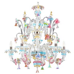 Murano Chandelier, Rezzonico 6 Arms, Clear and Multi-Color Glass by Multiforme