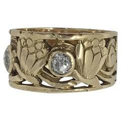 Arts & Crafts 14 Karat Diamond Ring with Floral Design