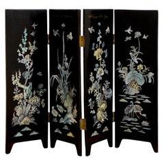 Asian Black Lacquer and Mother of Pearl Four Panel Table Screen 1990s