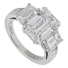 Asprey Emerald Cut Diamond Ring 6.30 Total Carat 4.30 Center Stone GIA Certified