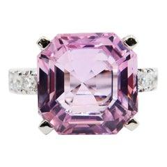 Asscher Cut Pink Kunzite 11.66 Carat and Diamond Cocktail Ring, Statement Ring