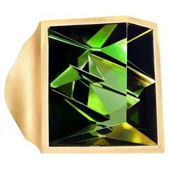 Atelier Munsteiner Finest 10.87 Carat Deep Green Tourmaline Cocktail Ring