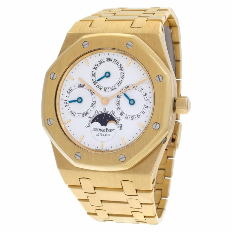 Audemars Piguet Royal Oak Reference #:C19584. Audemars Piguet Royal Oak Quantieme Perpetual Calendar in 18k. Auto w/ date, day, month, moonphase and perpetual calendar. 38.5 mm case size. With box. Ref C19584. Fine Pre-owned Audemars Piguet Watch.