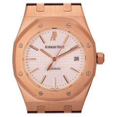 Audemars Piguet Royal Oak Selfwinding Gents 18 Karat Rose Gold Silvered Dial