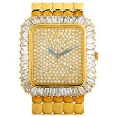 Audemars Piguet Vintage 18 Karat Yellow Gold Baguette Diamond Bezel Watch