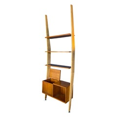 Augusto Romano Walnut and Brass Bookcase, Italy, 1950s