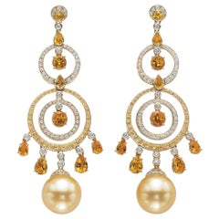 Autore 18Kt YG South Sea Golden Pearls, Sapphire, Citrine and Diamond Earrings
