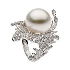 Autore South Sea Pearl Diamond Leaf Ring