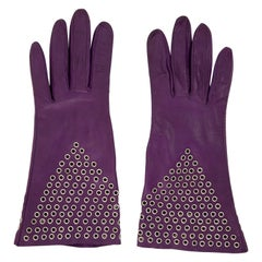 Azzedine Alai Plum Leather Gloves with Gold-Tone Grommets, Circa: 1980's