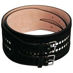 AZZEDINE ALAÏA Black Velvet Calfskin Belt