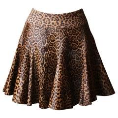 Azzedine Alaïa Leopard-Print Calf-Hair Mini Skirt